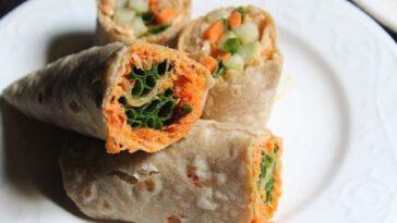 Rollos de zanahoria y humus en un solo paso