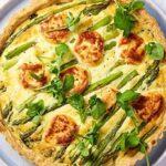 tarta doble de queso y verduras de primavera