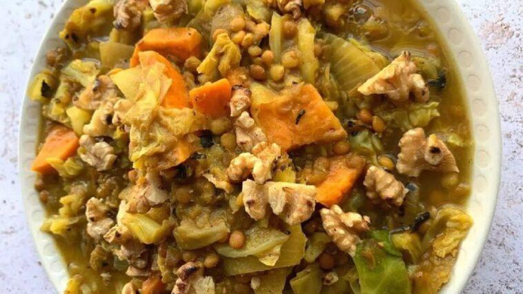 lentejas y boniato al curry