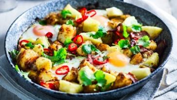 Patata jerk picante y hachís de piña: receta rápida