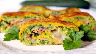 Rollo de tortilla de calabacín: un plato sabroso y apetecible
