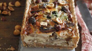 torta de setas y semillas de alcaravea